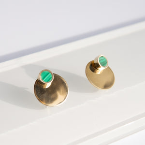Tiro Tiro: Malachite Eclipse Earring in Brass (removable stud)