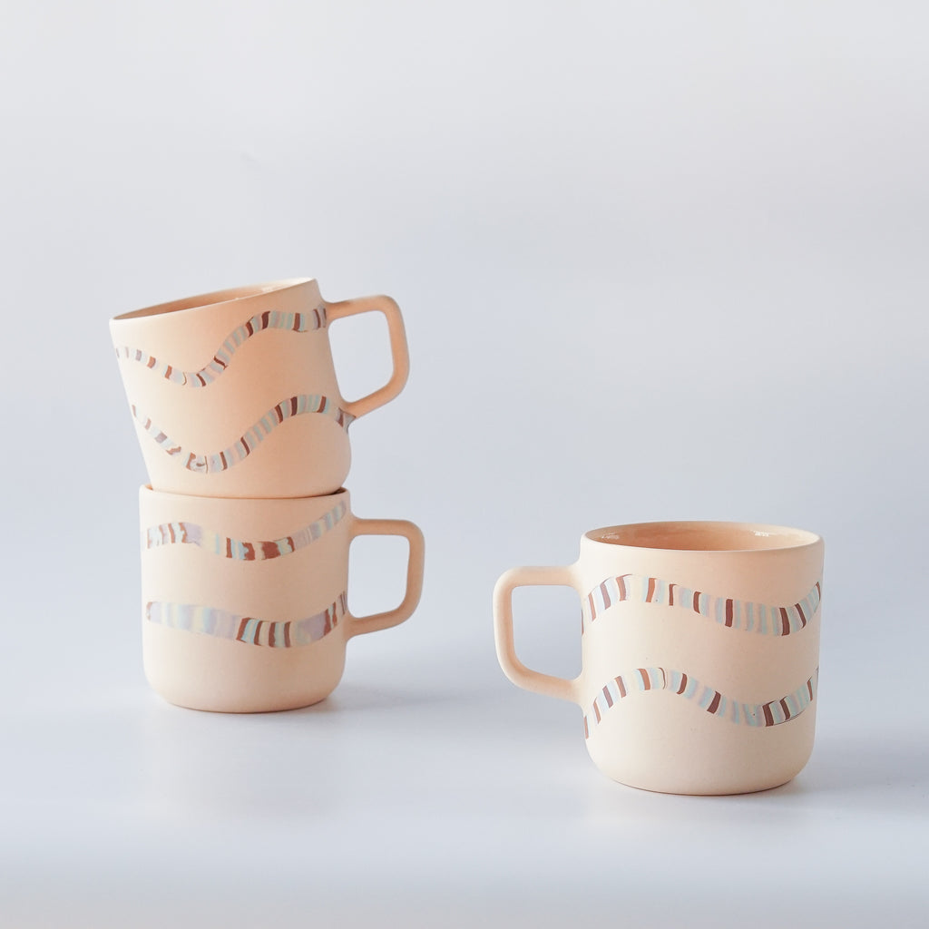Peaches: Peach Nerikomi Mug 12 oz