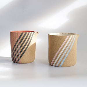 KFM Ceramics: Coral/Black Striped Pitcher