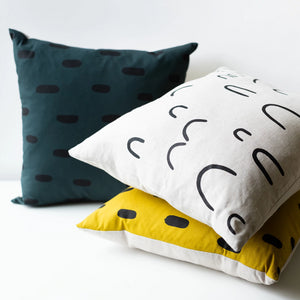 Cotton and Flax Hand Silkscreened Pillow
