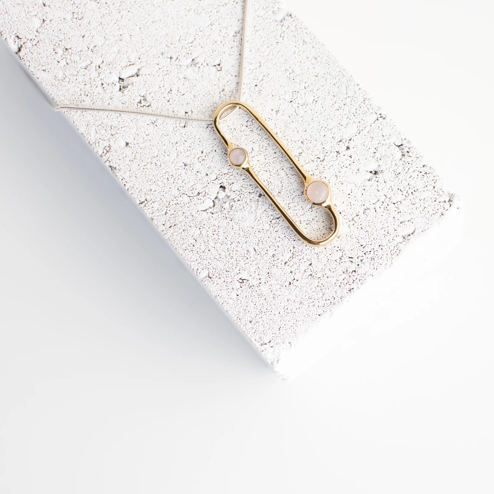 Tiro Tiro Amparo Brass Necklace with Rose Quartz