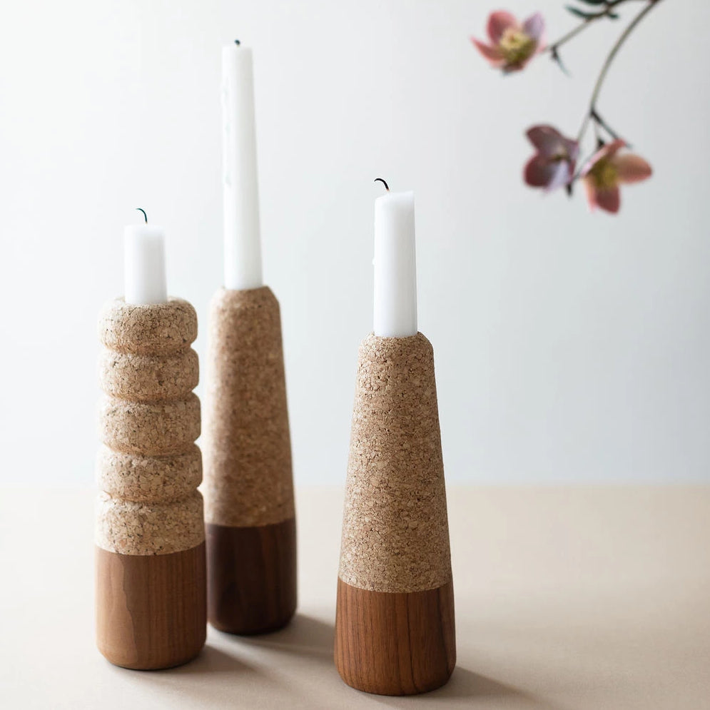 Melanie Abrantes Cork and Wood Candle Holders