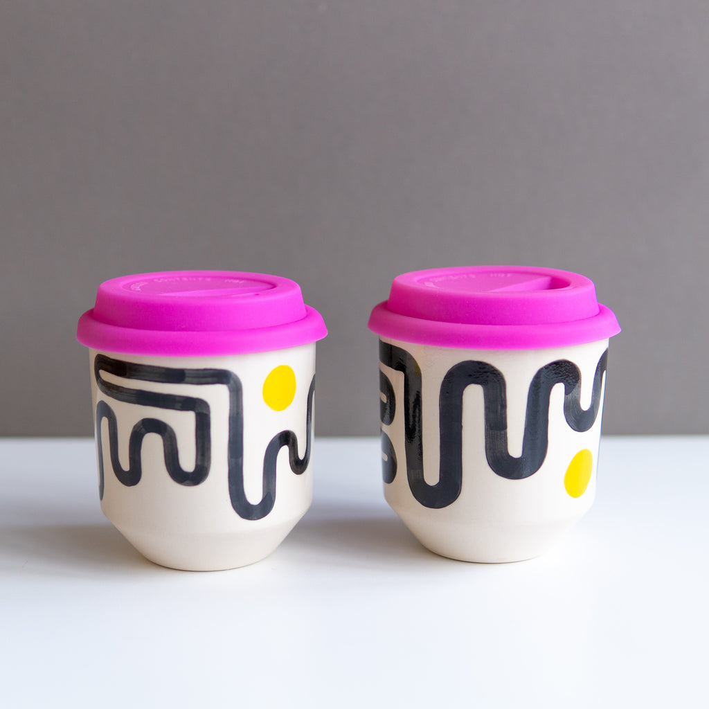 Steph Liddle: Yellow Dot Travel Cups