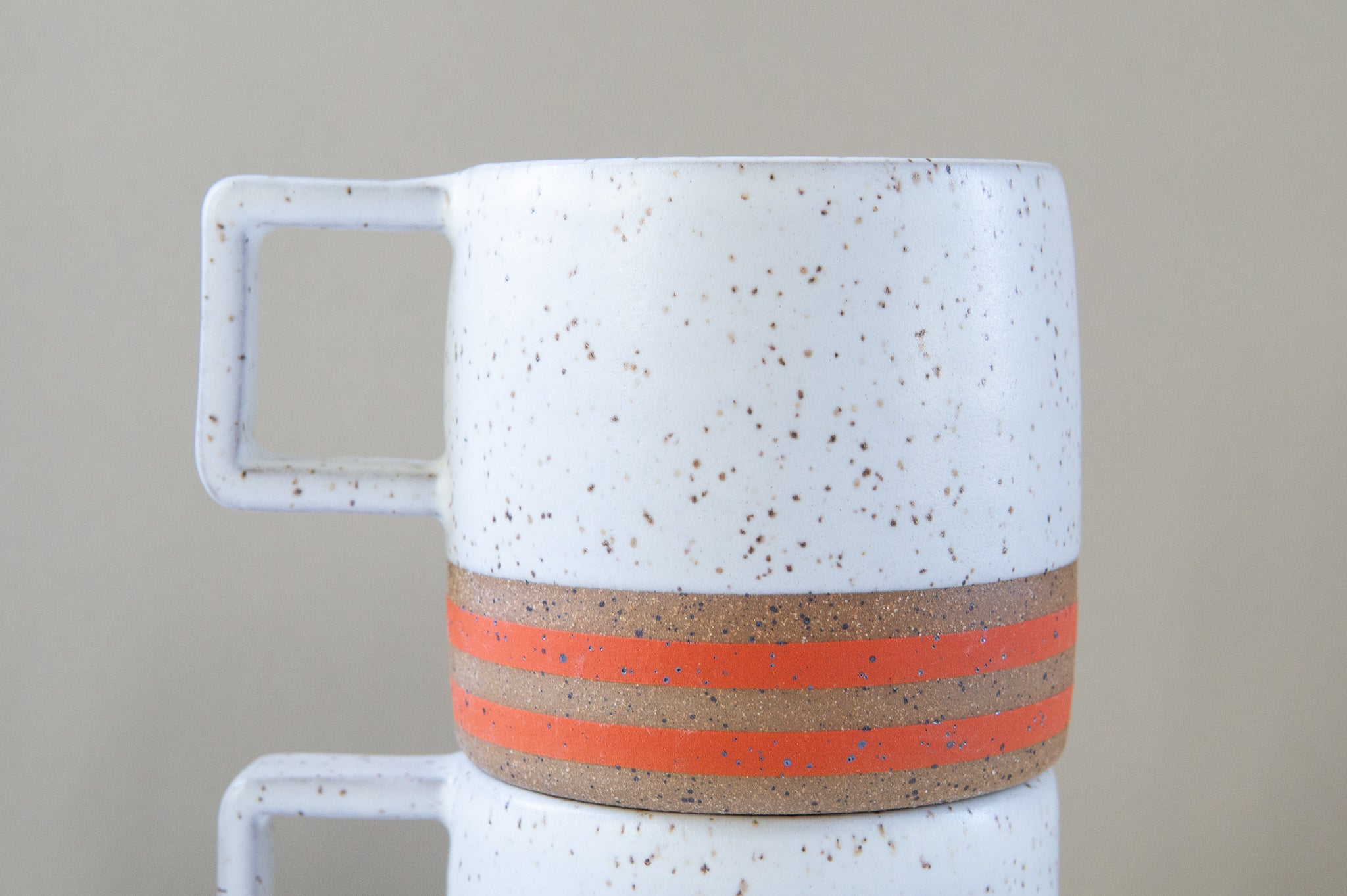 Wolf Ceramics: Orange Stripe Speckle Mug