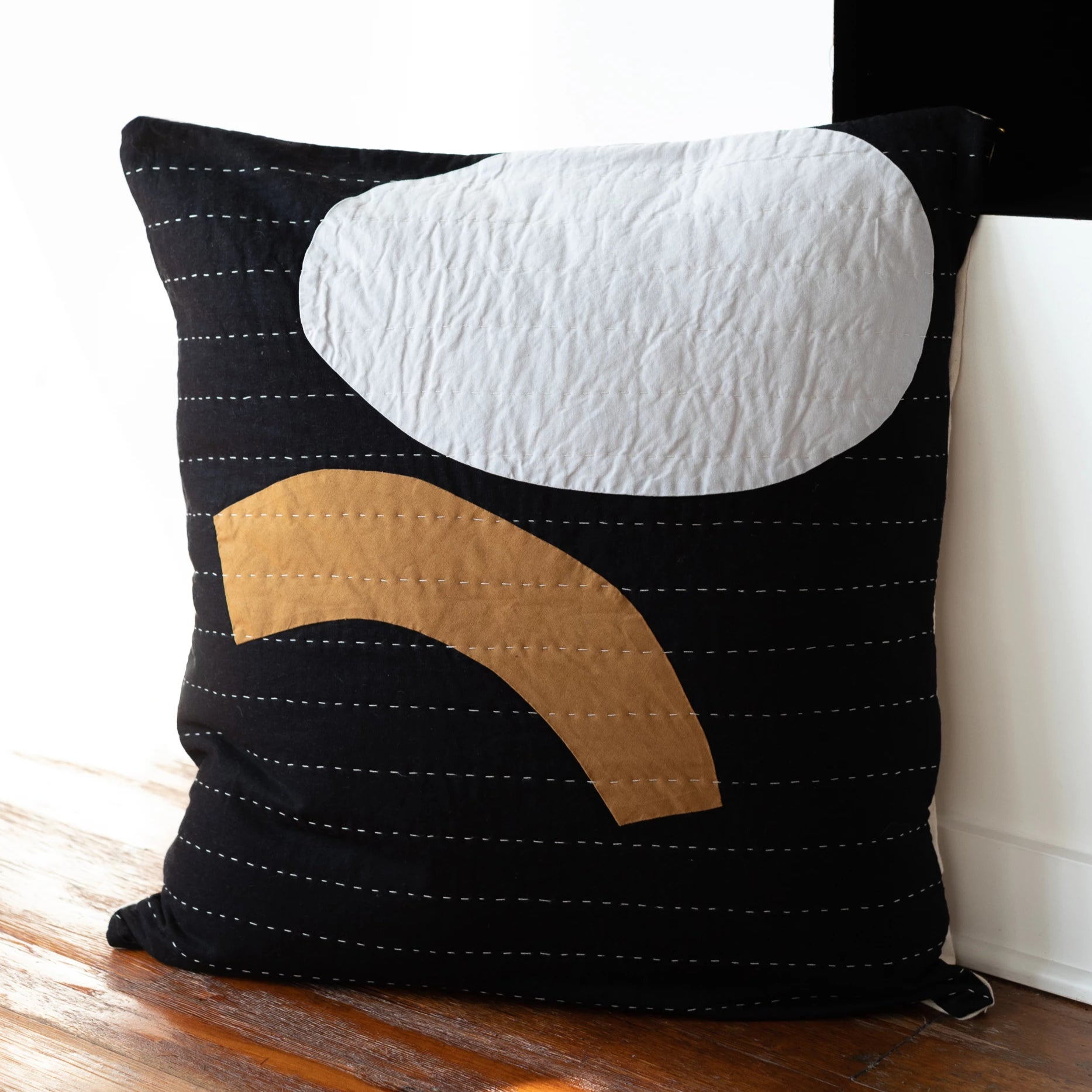 Lindsay Kretchun Large Black Quilted Pillow