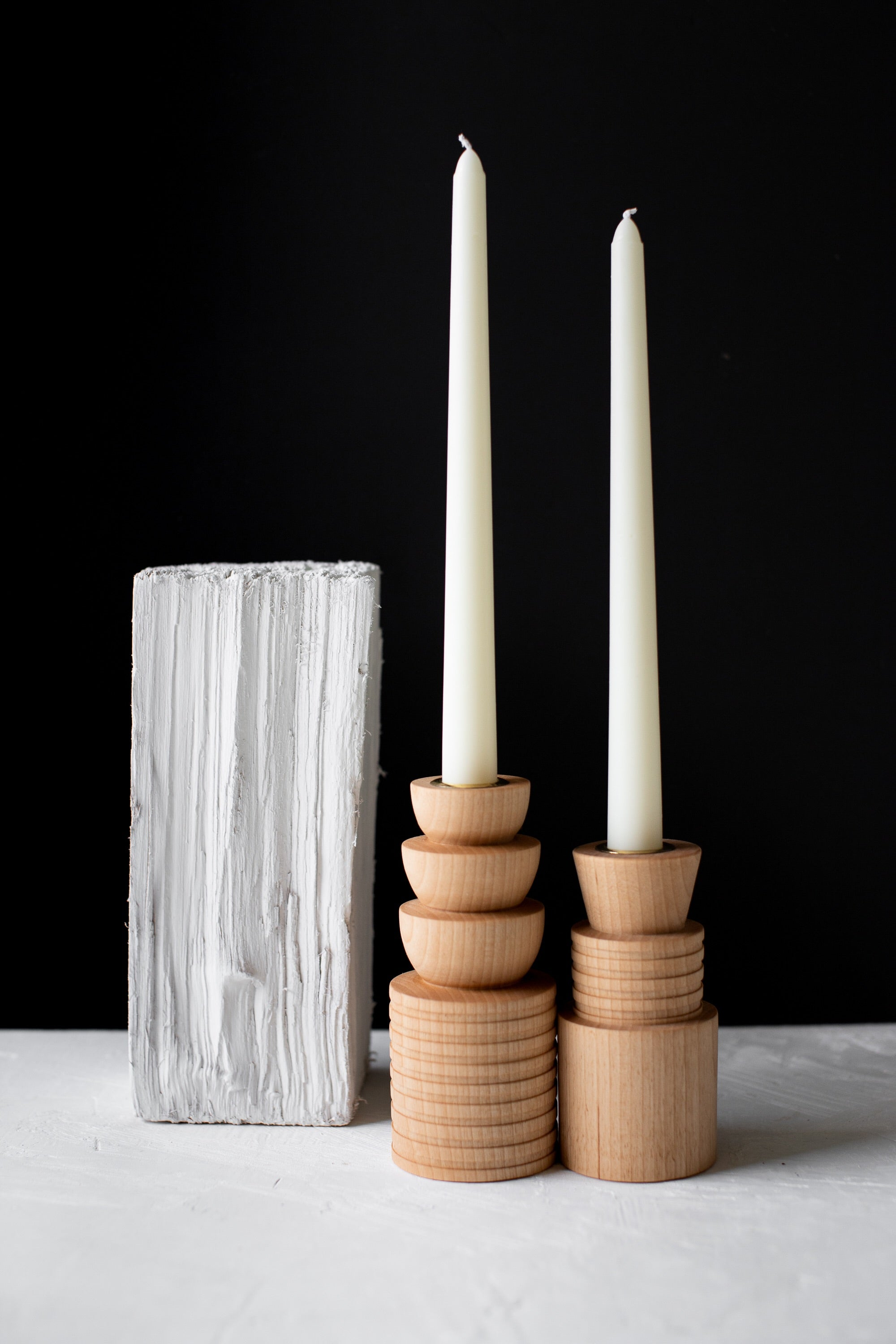 Elise McLauchlan Wooden candle holders