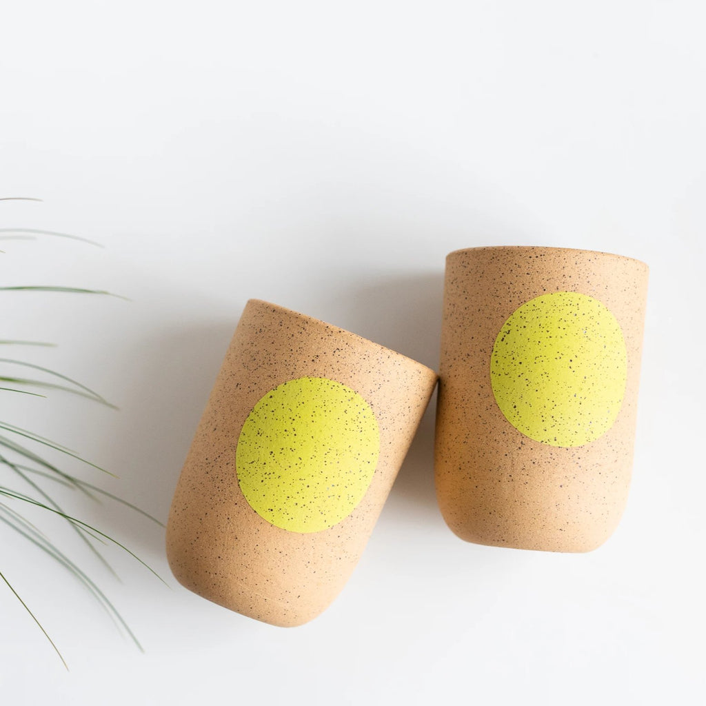 stoneware tumblers with chartreuse dot by Mimi Ceramics