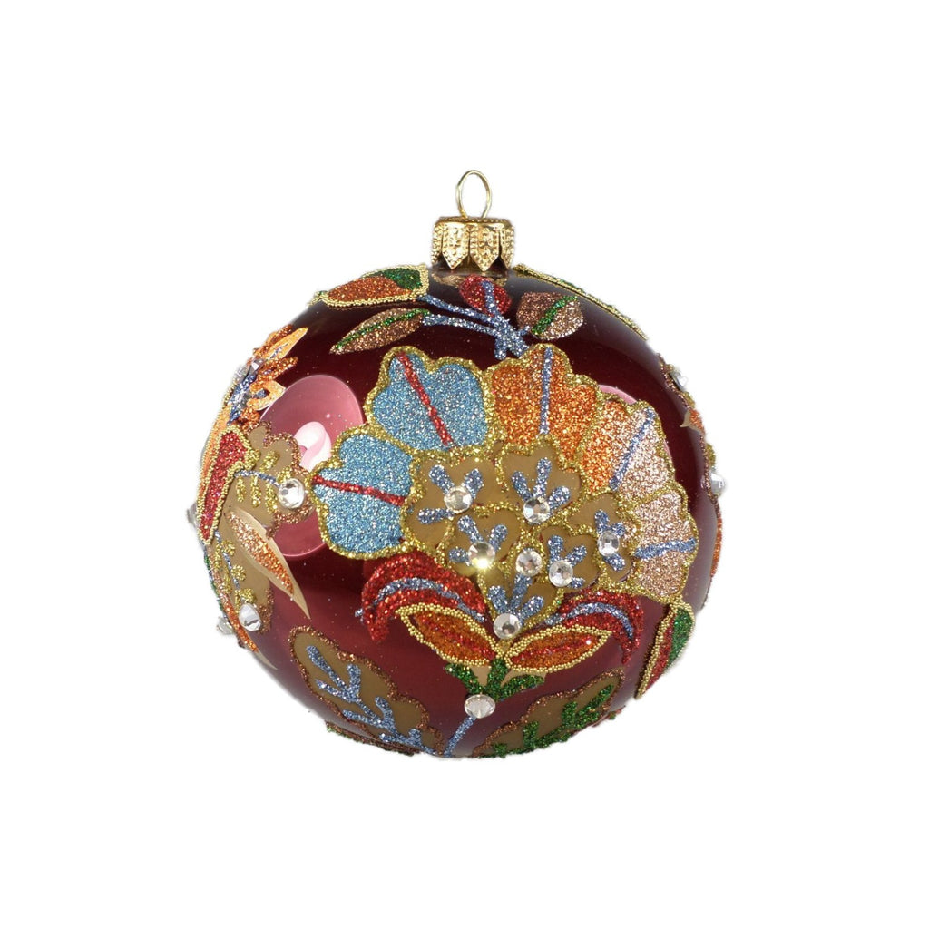Burgundy Blooming Flower Ball Ornament