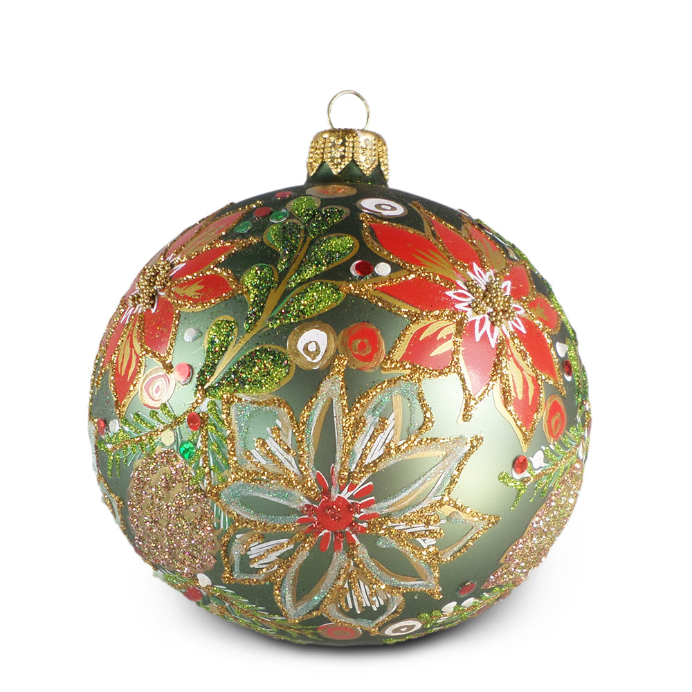 Green Ball with Red Poinsettia Ornament
