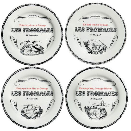 Gien 'Les Fromages' Appetizer Plates, Set of 4