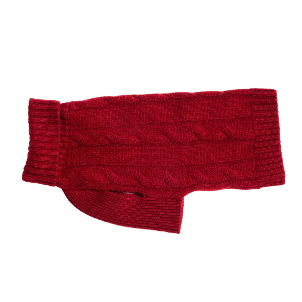 Cableknit Cashmere Dog Sweater, Burgundy