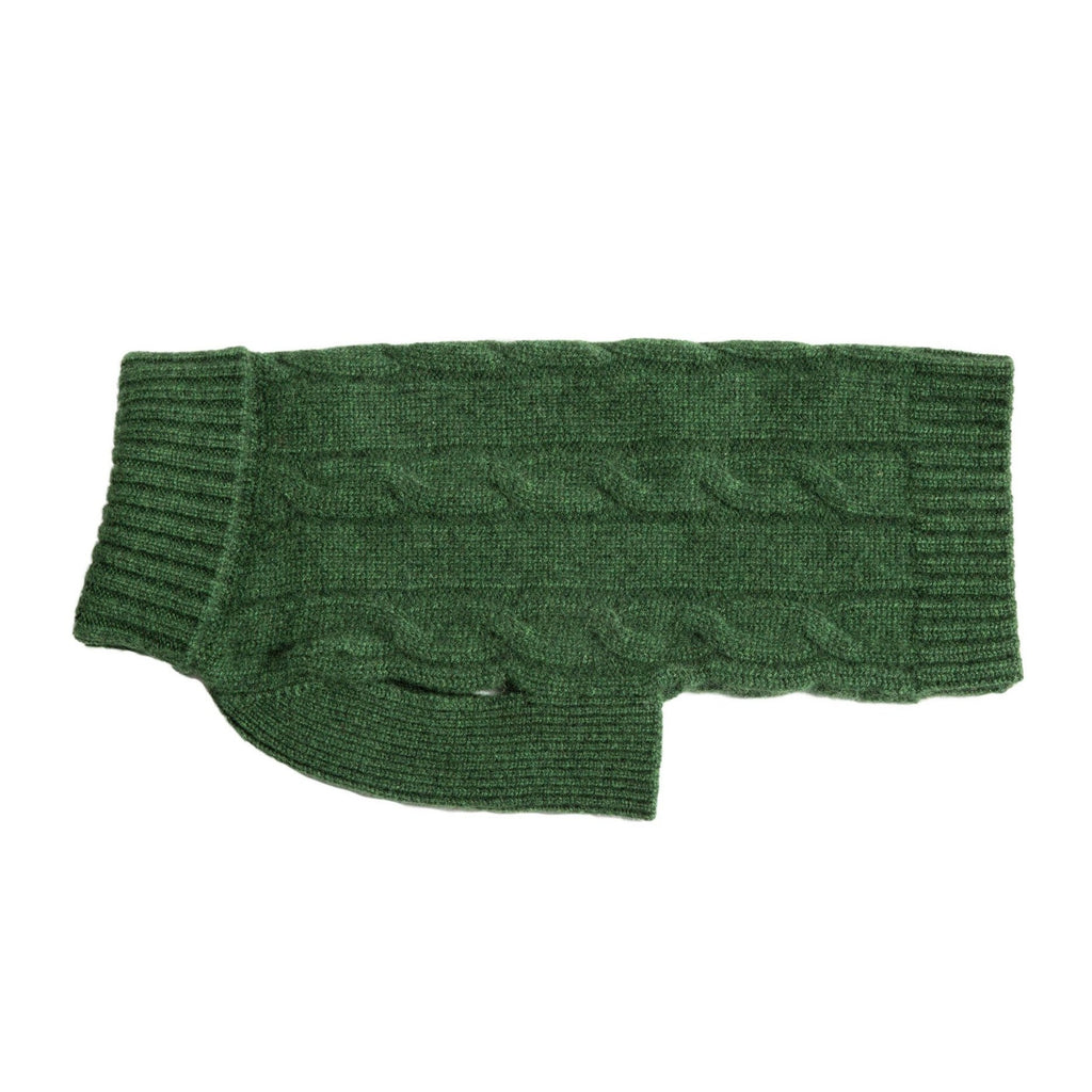 Cableknit Cashmere Dog Sweater, Green