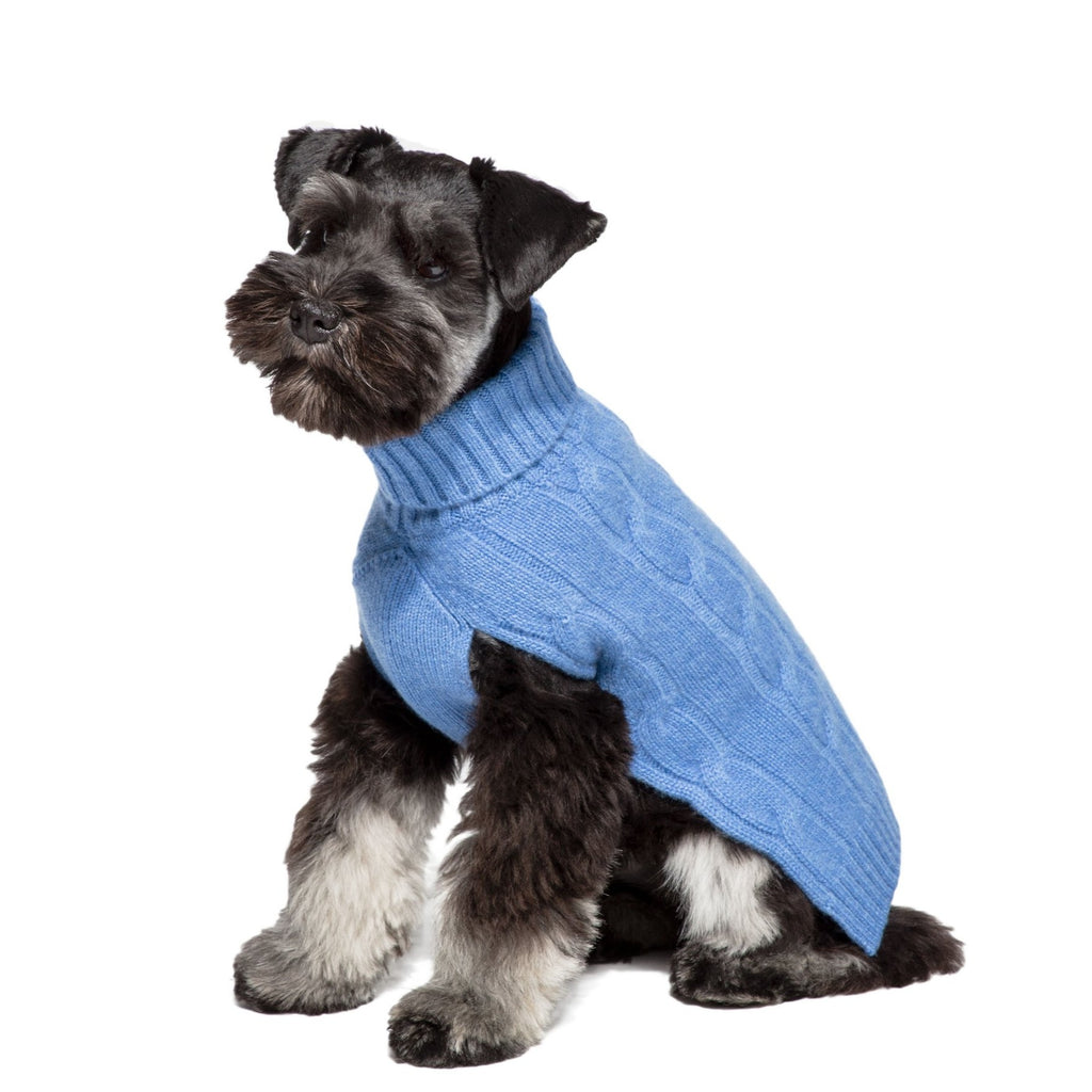 Cableknit Cashmere Dog Sweater, Blue