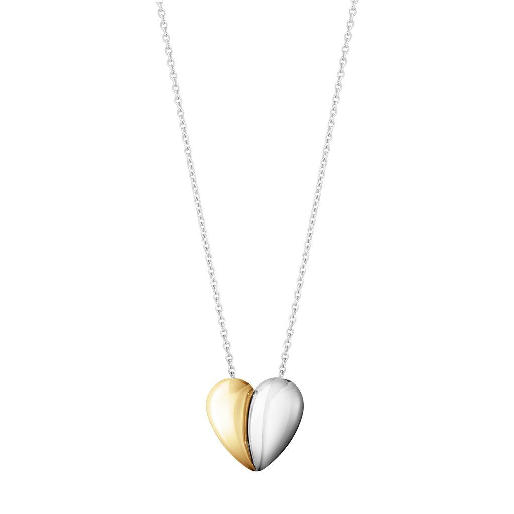 Silver & Gold Curve Hearts of Georg Jensen Pendant Necklace