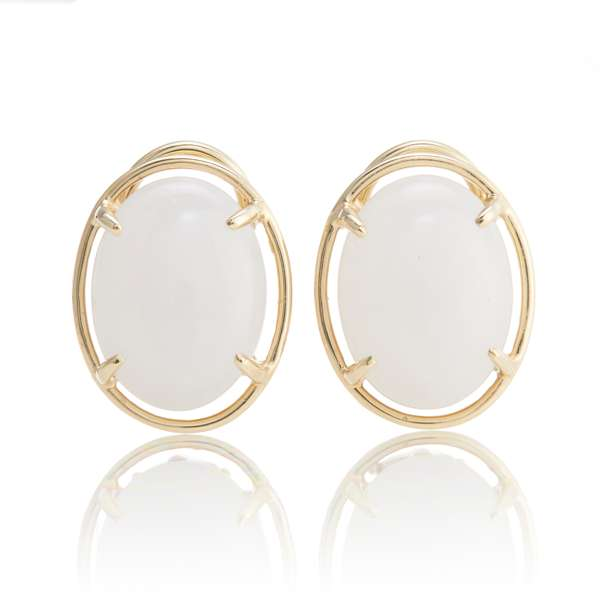 Small White Jade Cabochon & Gold Earrings