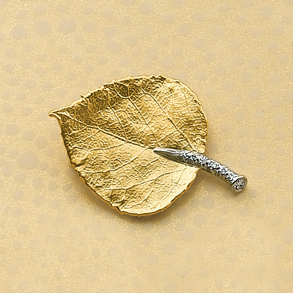 Gold & Diamond Aspen Leaf Brooch