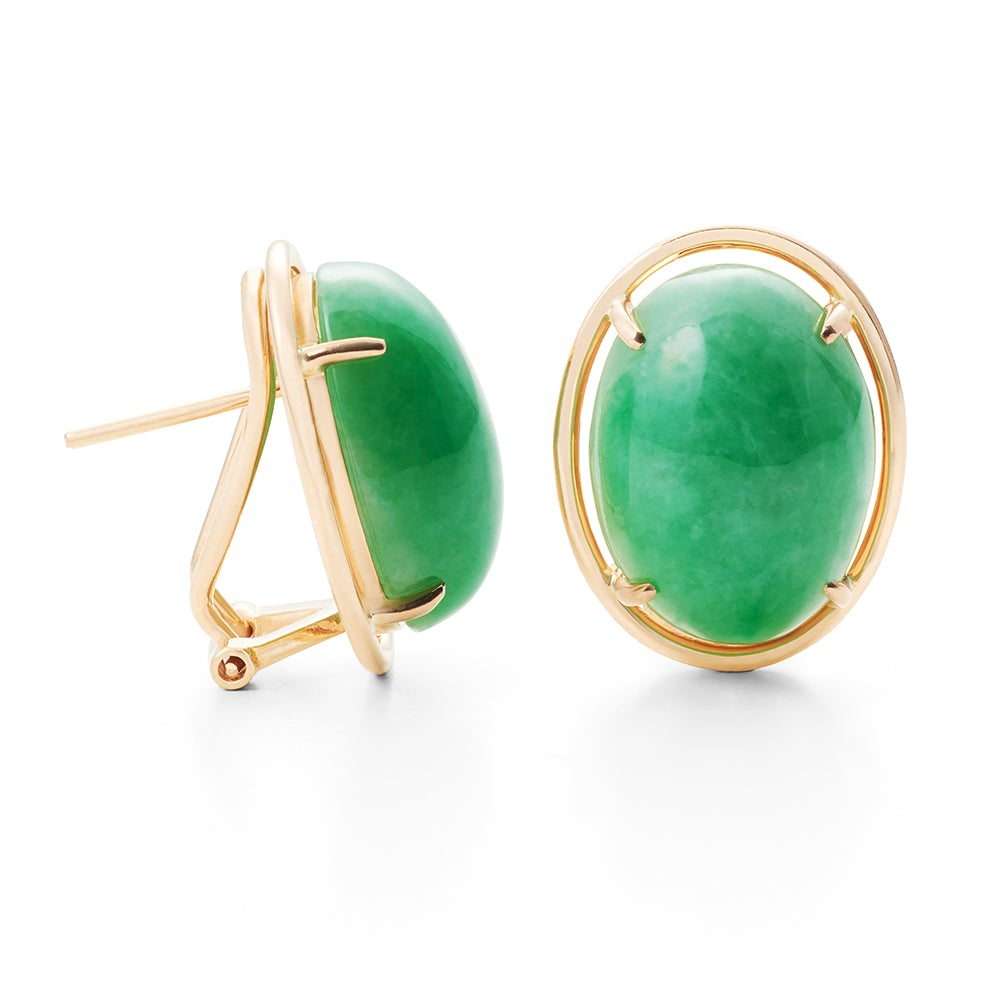 Apple Green Jade Cabochon Earrings