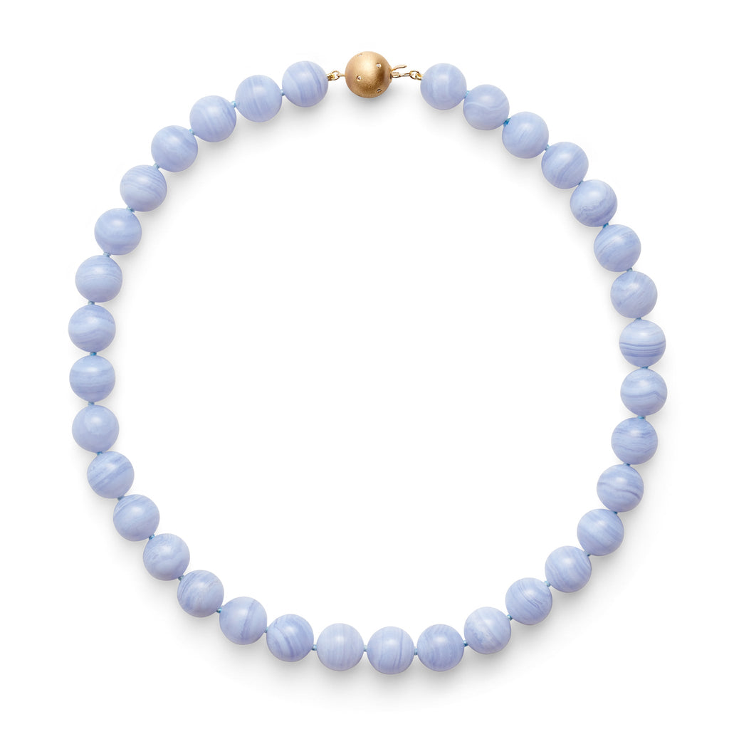 12MM Blue Lace Agate & Gold Necklace