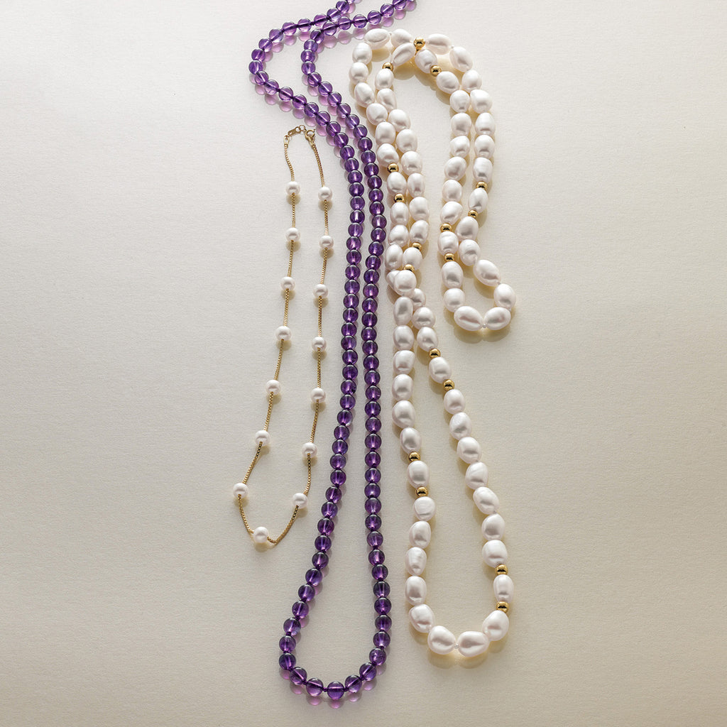 Smooth Amethyst Rope Necklace