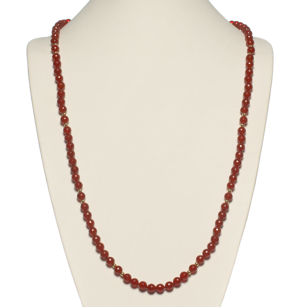 Faceted Carnelian & Gold Rope Necklace