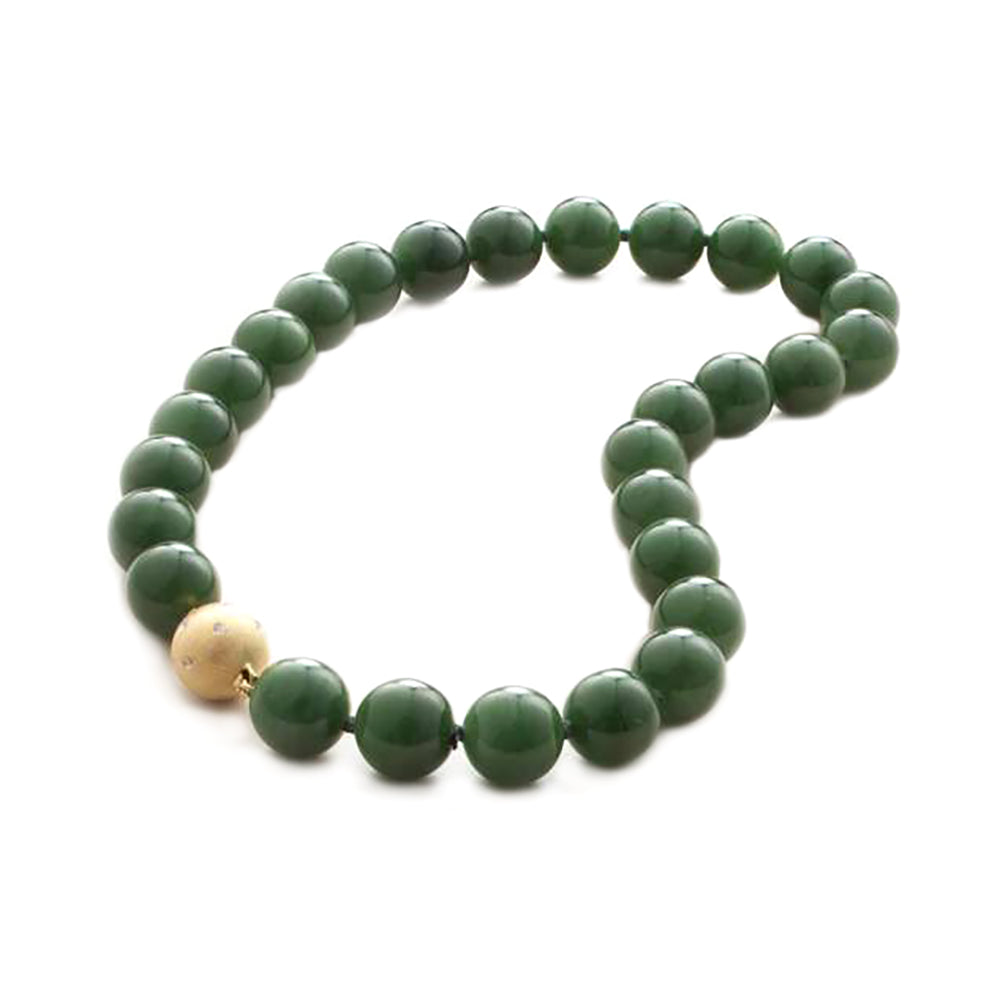 14mm Green Nephrite Jade Necklace
