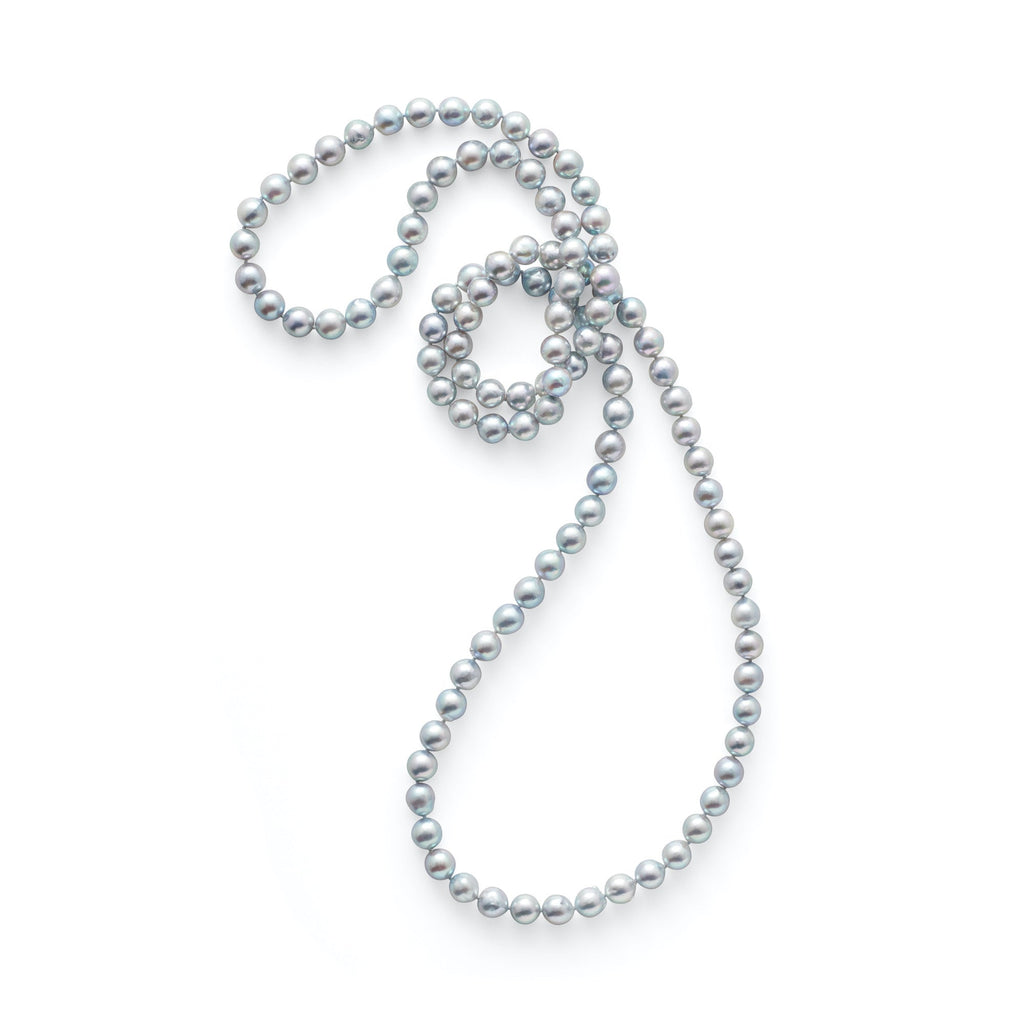 Baroque Blue Akoya Pearl Rope Necklace