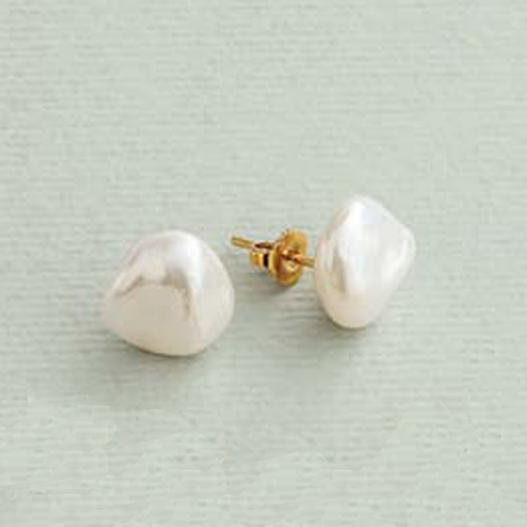 14KT YG WHITE FLAKE PEARL EARRINGS