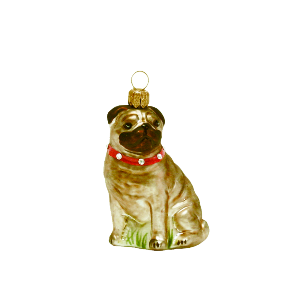 Pug with Red Collar Ornament