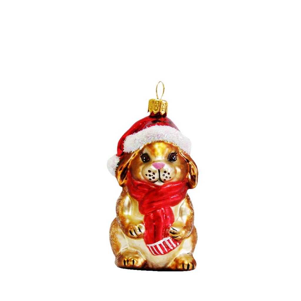 Bunny with Scarf and Santa Hat Ornament
