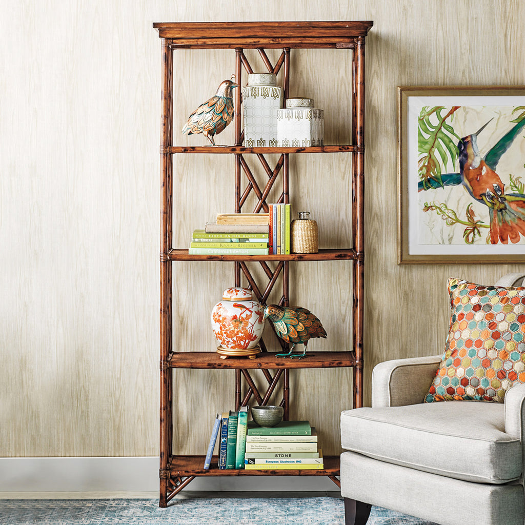 Antigua Tortoise Rattan Bookshelf Tall