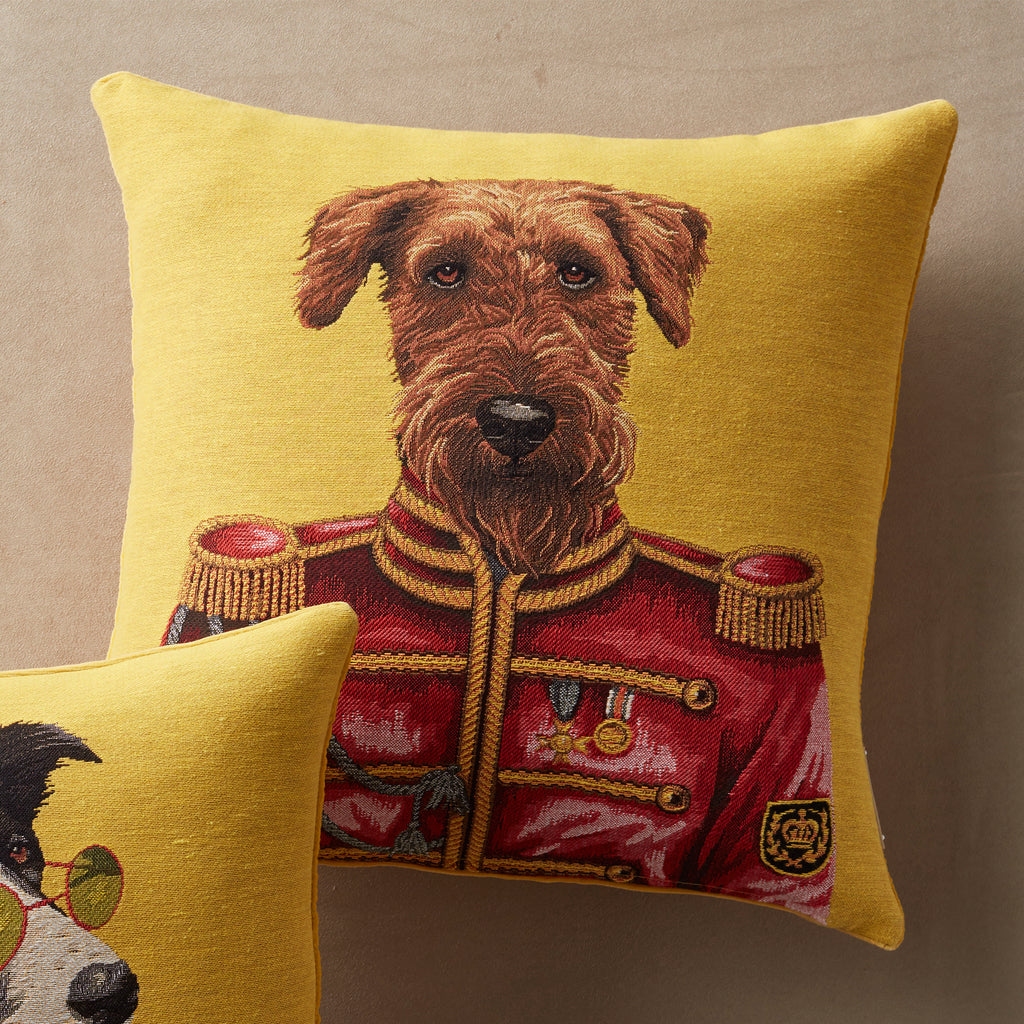 Regimental Airedale Terrier Tapestry Woven Pillow