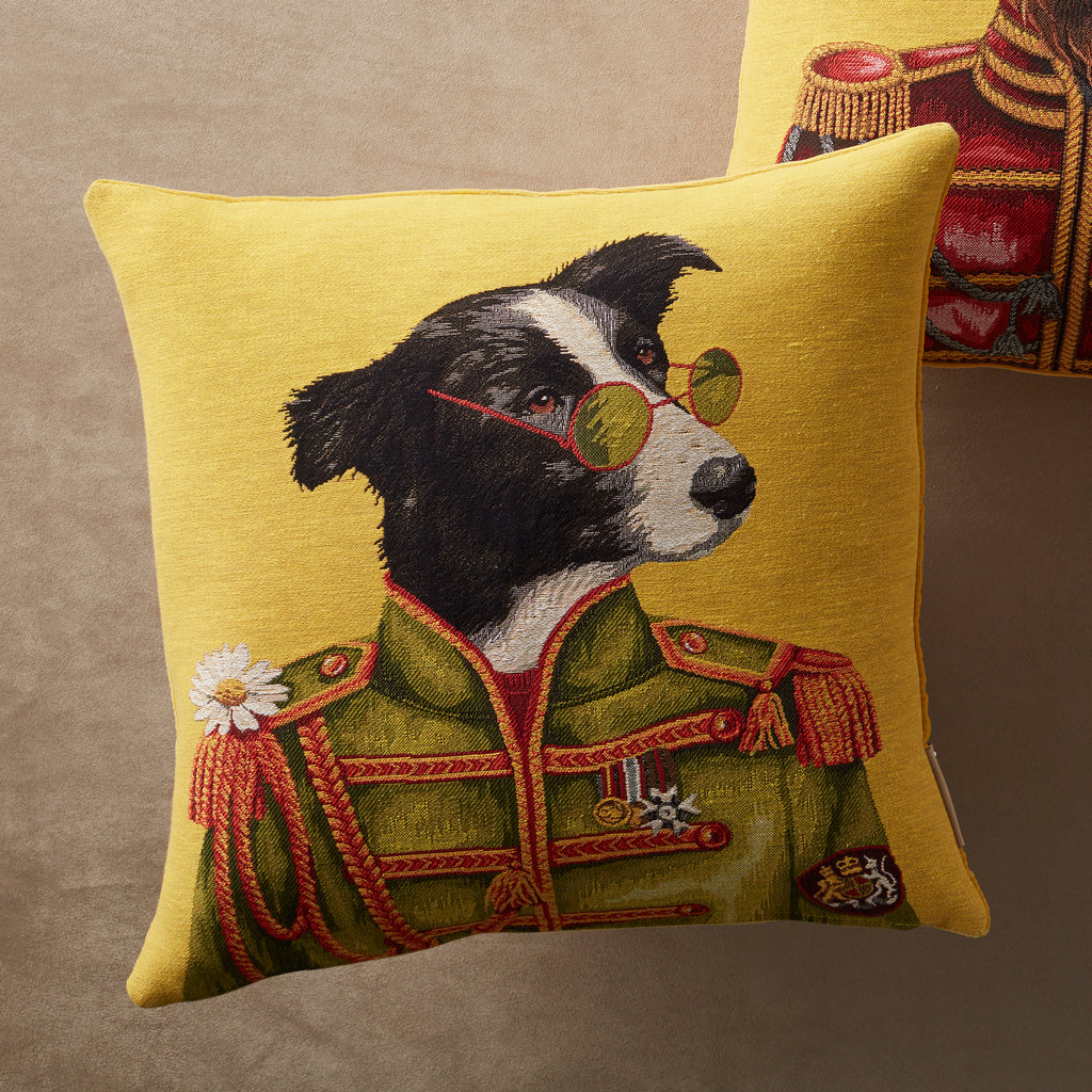Regimental Border Collie Tapestry Woven Pillow