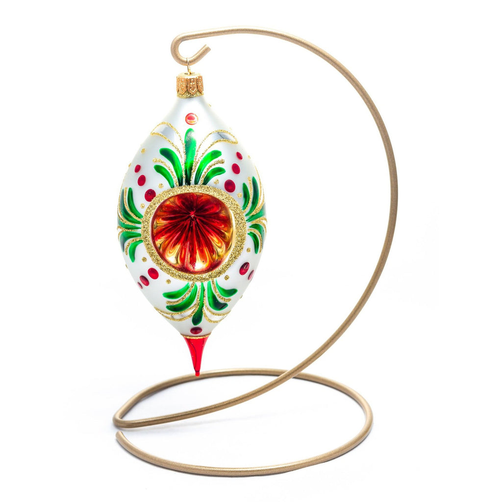Red & Green Swirl Reflector Ornament