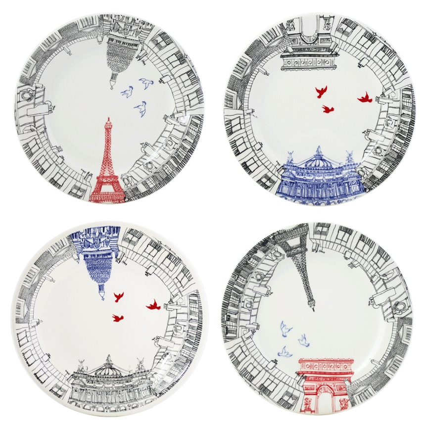 Ca C'est Paris! Dessert Plates, Set of 4