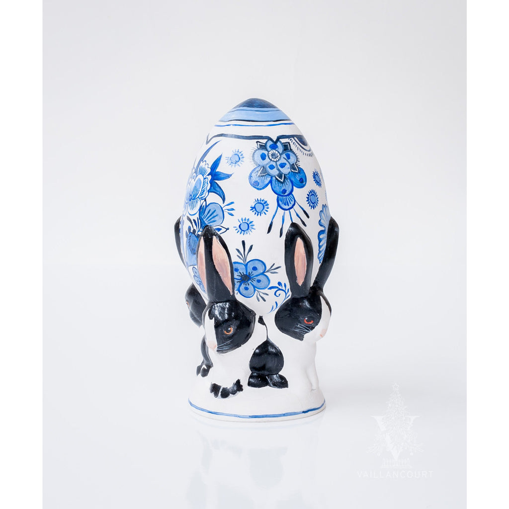 Four Bunnies Hoisting Delft Egg