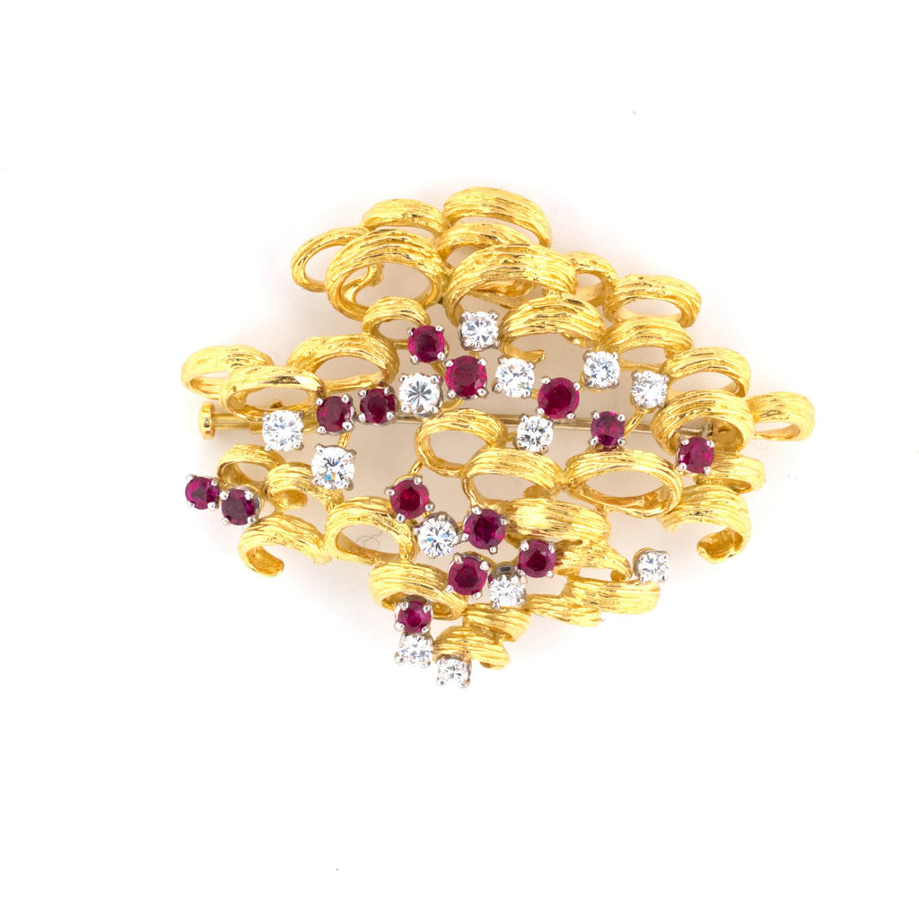 Ruby & Diamond Gold Brooch
