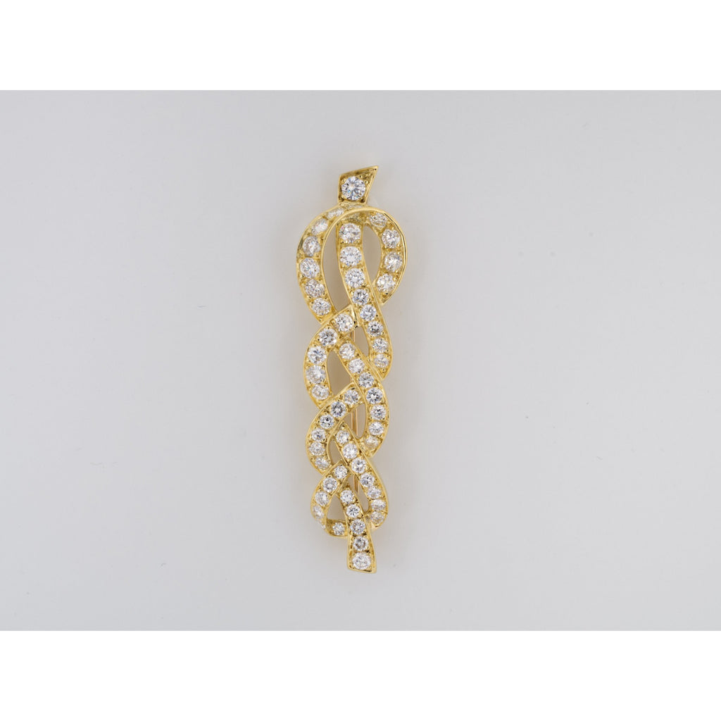 Gold & Diamond Braided Knot Brooch
