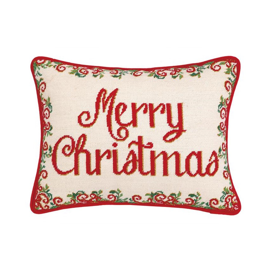 Merry Christmas Needlepoint Pillow