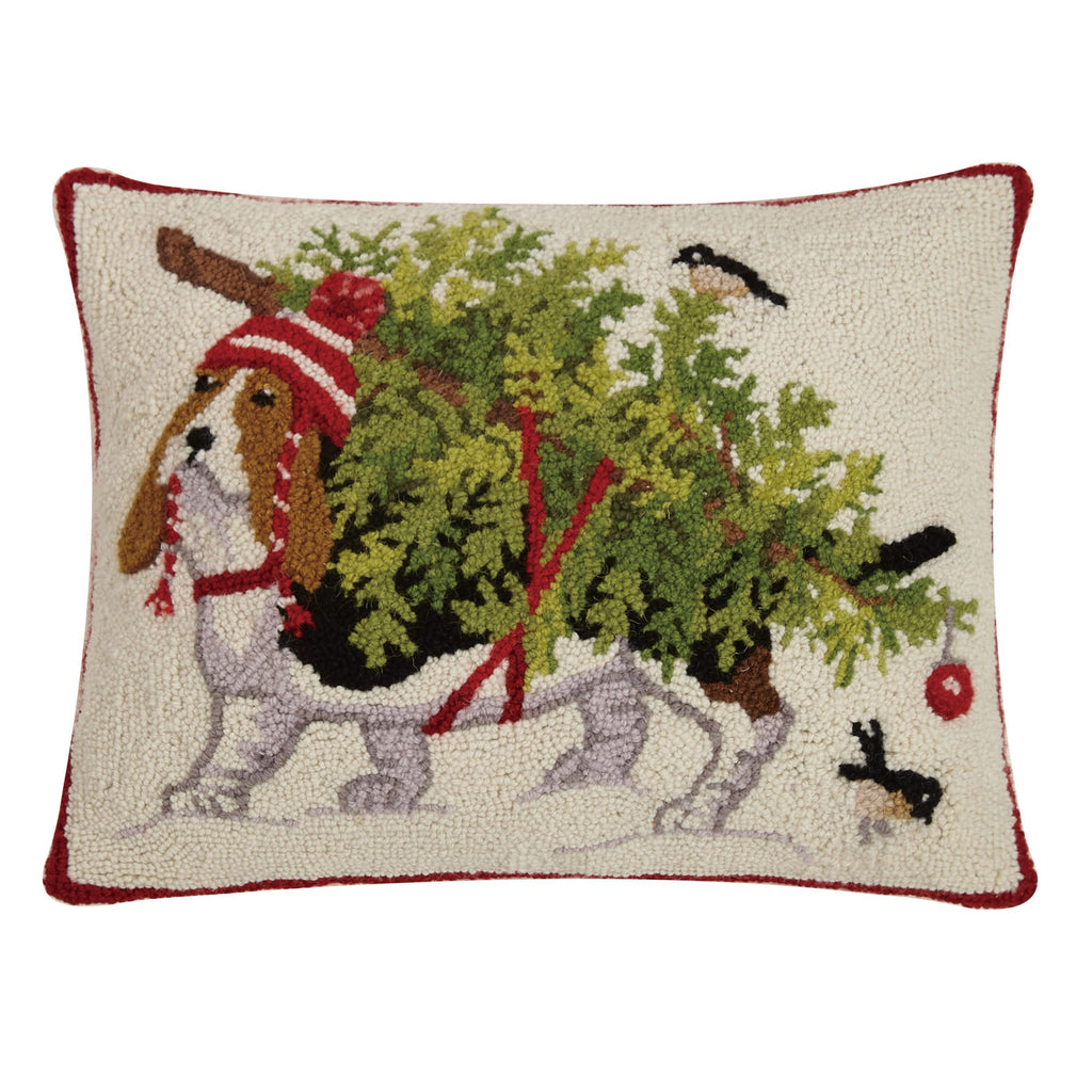 Holiday Basset Hound Pillow