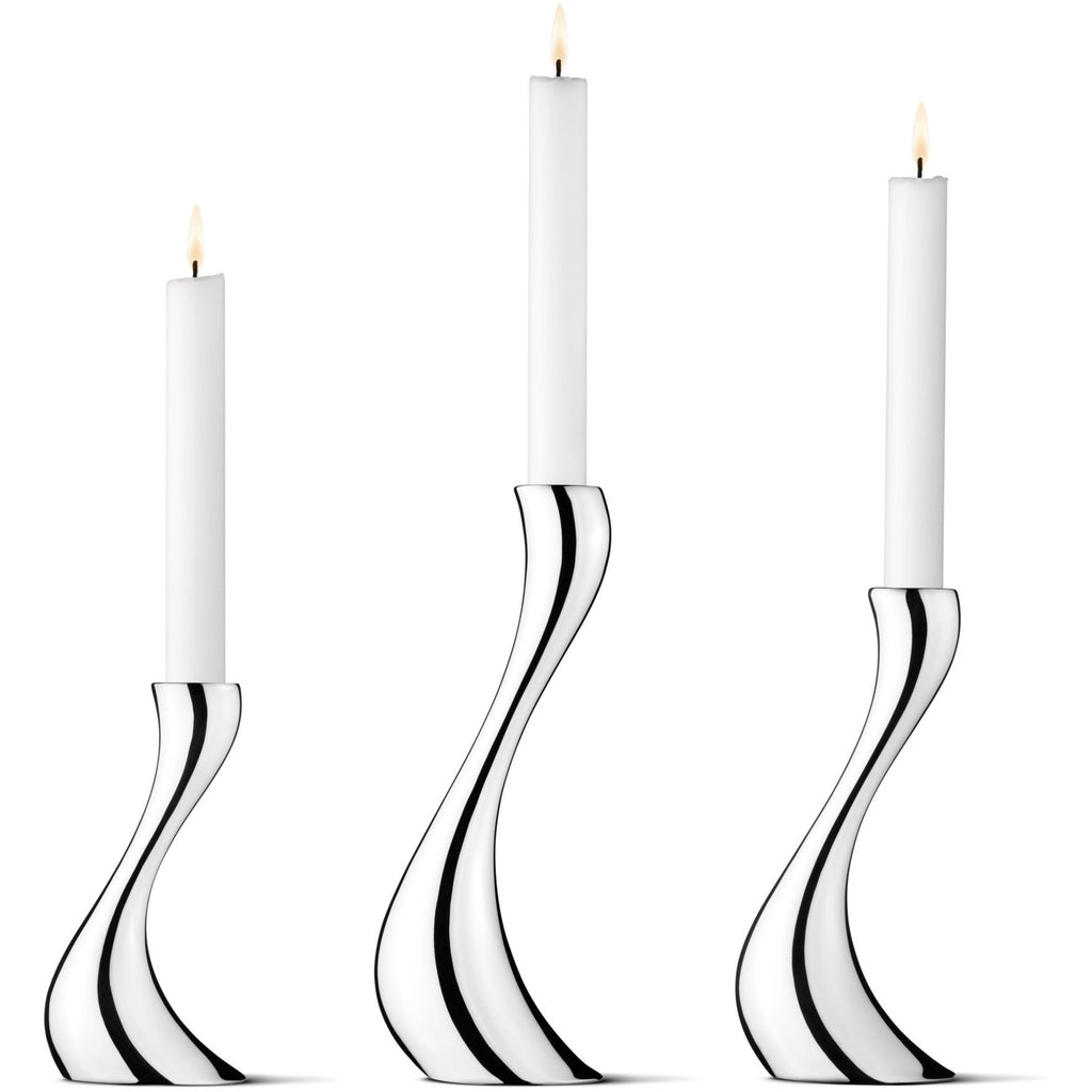 Silver Cobra Candlesticks Set of 3