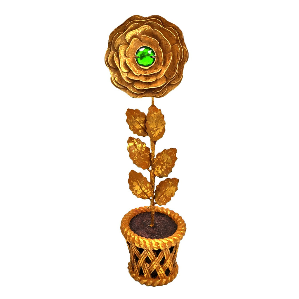 Golden Rose Pot with Green Heart