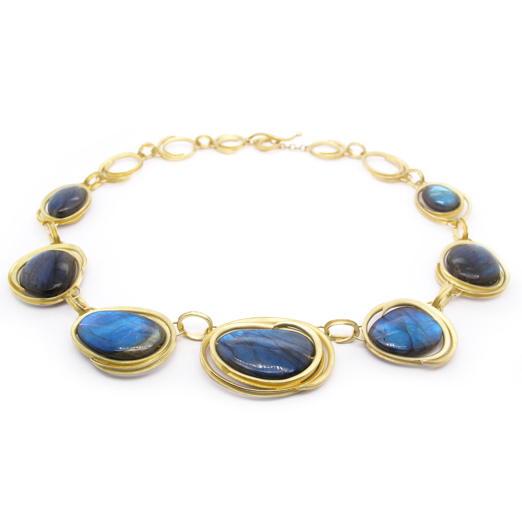 Gold Oval Swirl Link Labradorite Necklace