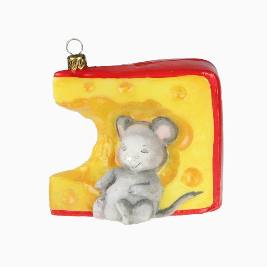 Mouse Napping in Cheese Ornament