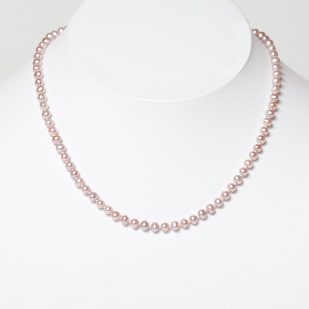Child's Pink Pearl & Gold Necklace
