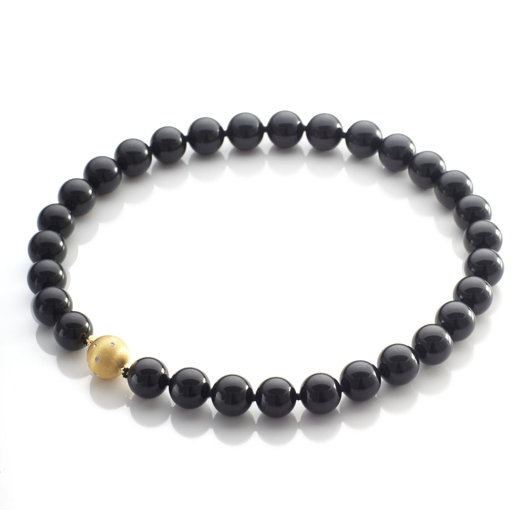 16mm Black Jade & Gold Necklace