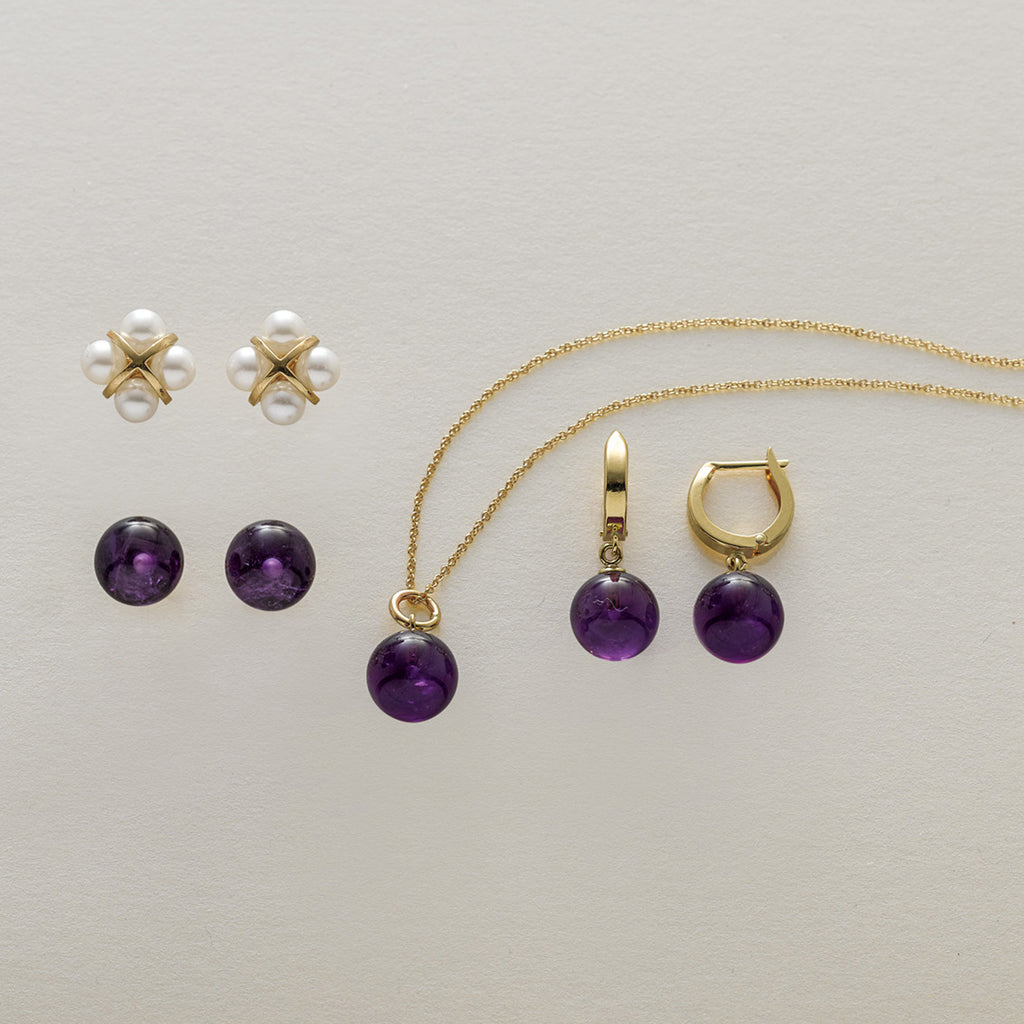 Gold Hoop & Amethyst Bead Earrings