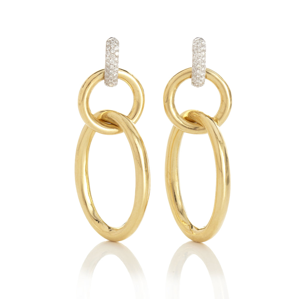Pavé Diamond & Gold Open Link Drop Earrings
