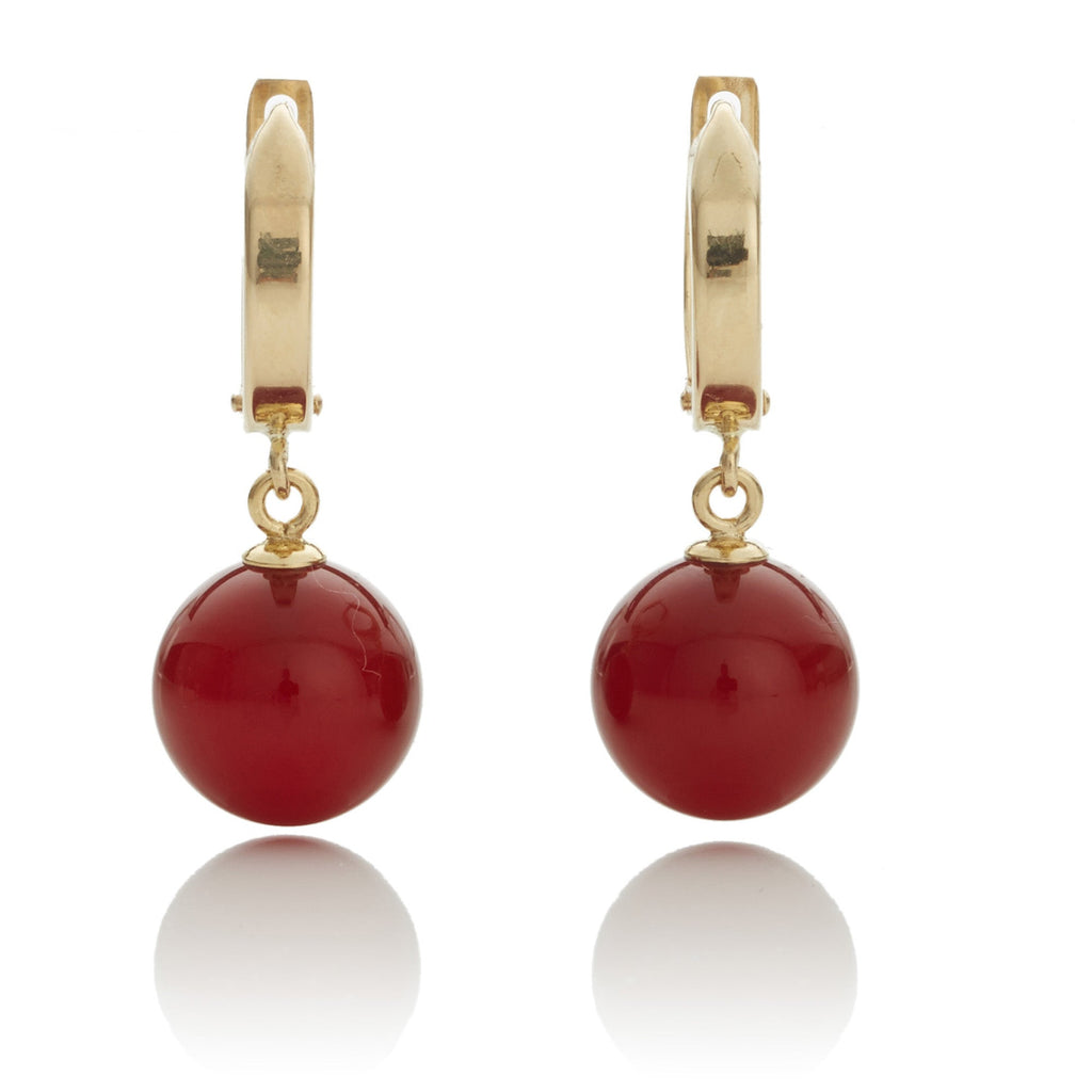 Gold Hoop With Carnelian Drop Earrings