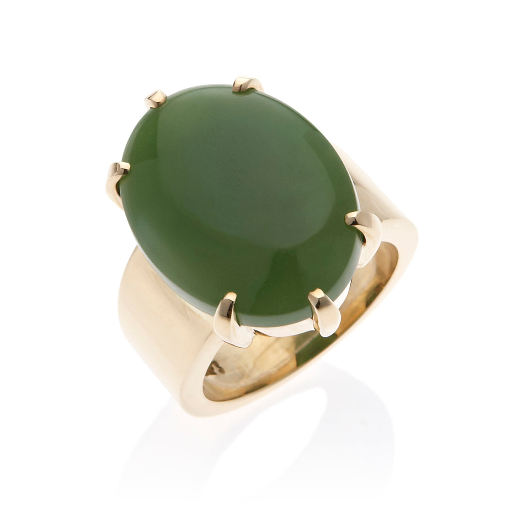 Six-Prong Green Nephrite Jade Ring