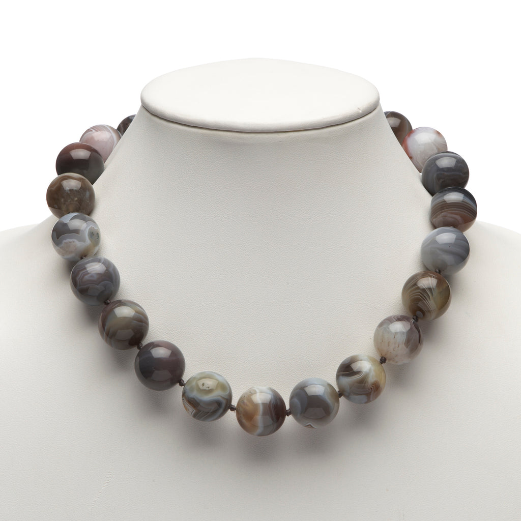 Botswana Agate & Silver Necklace